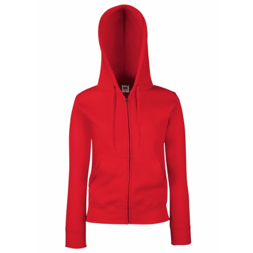 Fruit Of The Loom Lady-Fit Damen Kapuzenjacke / Sweatshirt-Jacke mit Kapuze M,Rot - Rot (Kapuzen-jacke Rote)