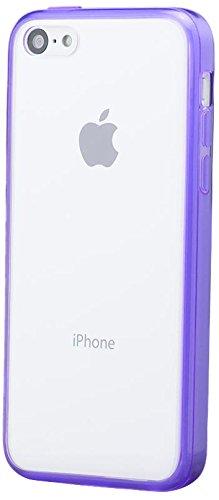 iCues Apple iPhone 5C    Bumper Case Klare Rückseite Weiss   [Display Schutzfolie Inklusive] Extra Leicht sehr Dünn Transparent Klarsichthülle Durchsichtig Klare Klarsicht Silikon Gel Schutzhülle Hüll Lila