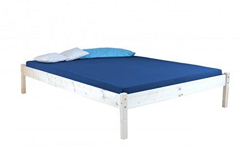 Coemo Massiv-Holzbett 90x200 120x200 140x200 Kiefer Bett ohne Kopfteil Massivholz Einzelbett Jugendbett (140 x 200 cm)