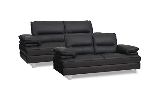 PKLine Sofagruppe SILLE in schwarz 2-und 3 Sitzer Couchgarnitur Ledercouch