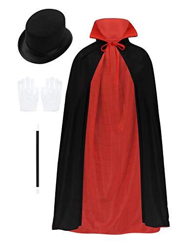 YiZYiF Kinder Jungen Mädchen Zauberer Kostüm Vampir Umhang mit Magier Hut Handschuhe Zauberstab Hexe Cosplay Outfit Set Halloween Karneval Fashing Verkleidung Schwarz&Rot One - Magier Kostüm Kind