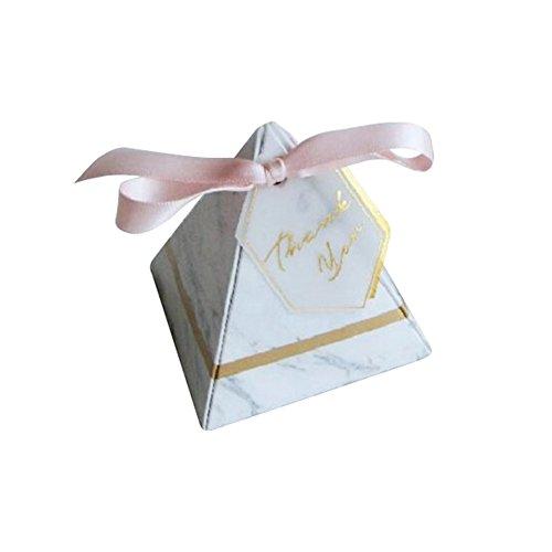 nenschachtel, Candy Geschenkbox mit Dankeschön Tag Marmor Muster Pyramide Süße Party Favor Hochzeit Geburtstag Baby Shower Supplies(klein) ()