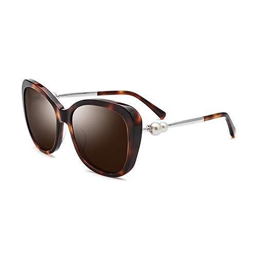 Wsw Platte Sonnenbrille Polarisierte Sonnenbrille Frauen Doppel Perle Leopard Dicken Rahmen UV400 Schutz Braune Linse Bequemlichkeit (Doppel-platte Bügel)