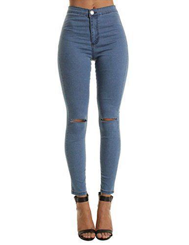 Modetrend donna pantaloni lunghi jeans strappati elastico vita alta skinny denim casuale trousers butt enhancer slim fit primavera inverno,blu,xl
