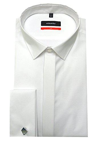 Manschetten Hemd Seidensticker Slim Fit SU-2020 weiß inclusive Krawatte und Manschettenknöpfe 36 bis 44 Weiß