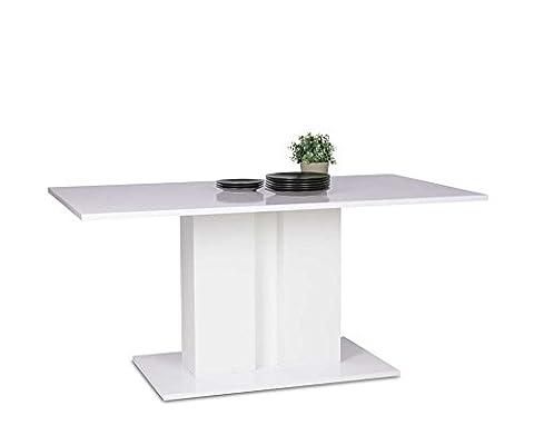 Esstisch, Esszimmertisch, Küchentisch, Säulentisch, Tisch, LED Beleuchtung, weiß, Hochglanz, rechteckig, 160 x 90 cm