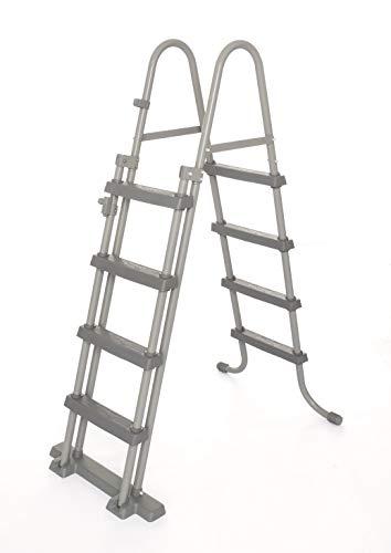Bestway Flowclear Sicherheitsleiter, Poolleiter mit Kindersicherung durch hochklappbaren Einstieg, 122 cm