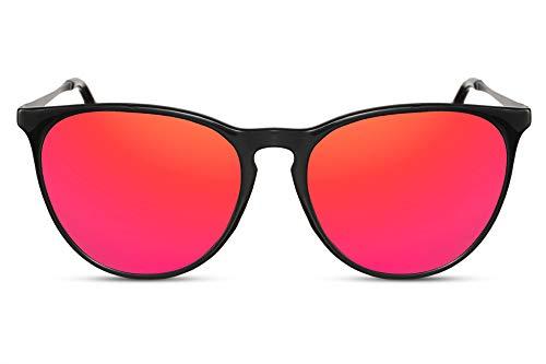 Cheapass Sonnenbrille Glänzend Schwarzer Rahmen mit Rot Verspiegelten Runden Gläsern Vintage UV400 Schutz Männer Frauen Rote Gläser