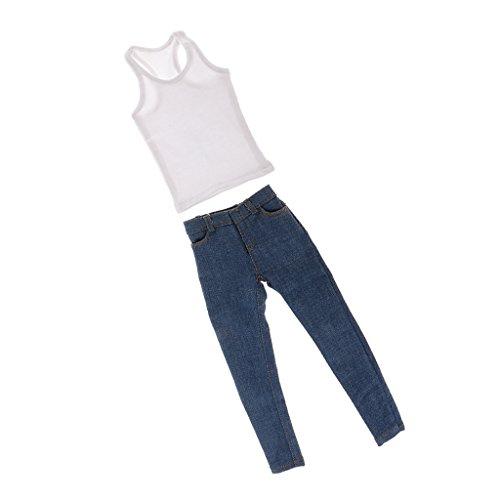 1/6th Men's White Vest Blue Jeans Fit For 12