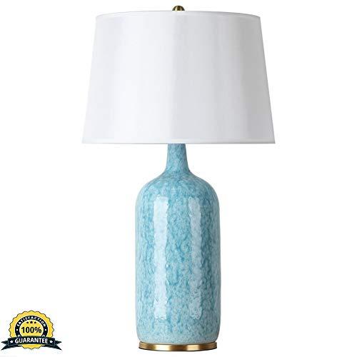 Amerikanische Kupfer-Keramik-Tischlampe Villa Studie Licht Hotel Classical Einfacher moderner Blue Family Schlafzimmer Nacht dekorative Lampe