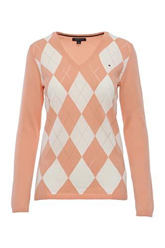 Womens V-neck Argyle Pullover (Tommy Hilfiger Damen Pullover, Women's Argyle Sweater, Medium)