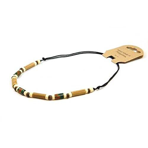 Leder Halsband aus Fimo & Bambus von TOC (Halsband Bambus)