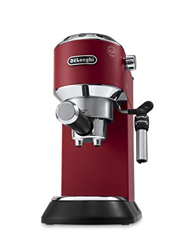 Delonghi EC685.R Dedica - Cafetera de bomba, acero inoxidable, capuccinatore, depósito 1,3 litros, sistema anti-goteo, café molido o monodosis, rojo