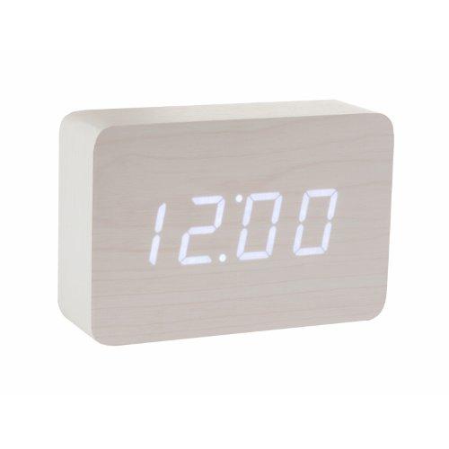 Preisvergleich Produktbild Gingko GK15W13 Digitaluhr 'Click Clock' Ziegelsteinform,  Weiß mit weißer LED-Anzeige