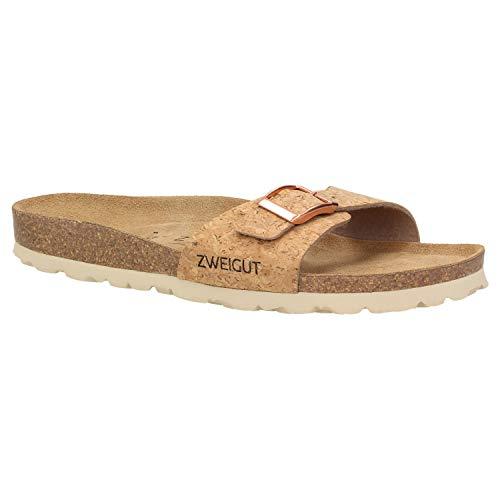 Zweigut® luftig #551 Damen 1- Riemen Sandalen Schuhe Sommer mit Soft Leder-Komfort-Fußbett, Schuhgröße:39, Farbe:Kork -