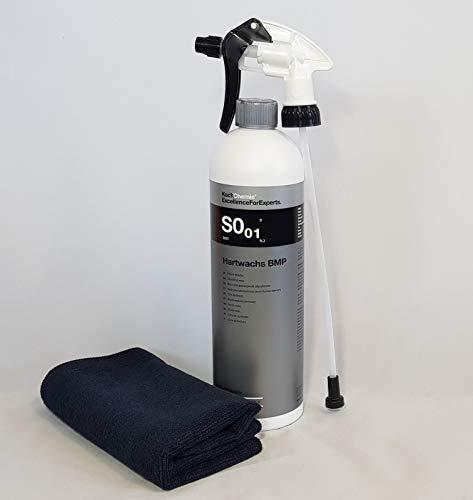 Clean 2 Koch Chemie SO.01 Hartwachs BMP Finish Wax 1L Sprüchkopf+Mikrofasertuch Schwarz