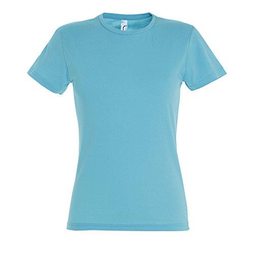 SOLS- Camiseta de manga corta Miss para chica/mujer (Mediana (M)/Azul turquesa)