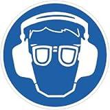 Aufkleber Gehörschutz und Augenschutz benutzen 20cm Ø