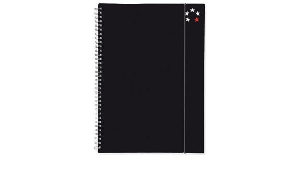 5 Star Office Notebook Wirebound Polypropylene Elasticated 80gsm A5 Black