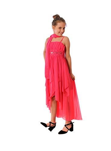 Miss Aylan Festliches Mädchen Kleid mit Stola Strass Perlen Strass Prinzessinnenkleid M533pi Pink...