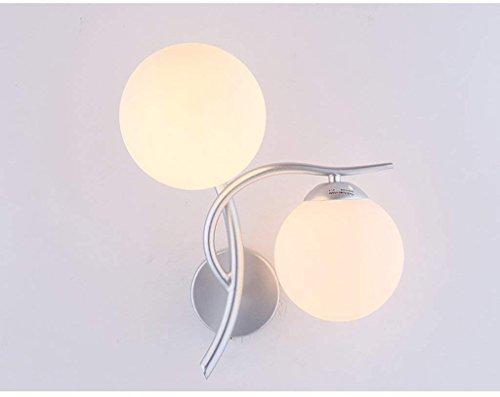 Wandleuchte Led, Nachttischlampe modernes Schlafzimmer Wohnzimmer Gang Treppe Doppel Kopf (Farbe: Silber weißem LED-Licht)