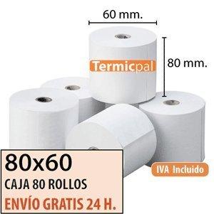 80x60 - 80 Rollos Papel Térmico