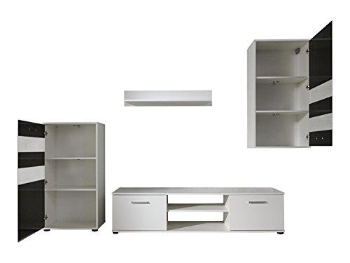 trendteam 1573-001-02 Wohnwand Weiß,  Klarglas Schwarz Siebdruck, BxHxT 222x177x40 cm - 2
