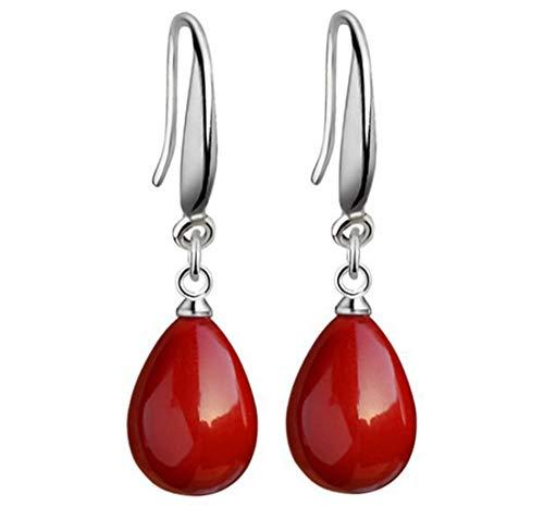 2LIVEfor Tropfenform Ohrringe Ethno Tropfen Rot und Farblos verziert Tibet Ohrringe Bohemian Vintage Ohrringe Orientalisch Antik Silber Ohrhänger Ornamente Glitzer (Rot)