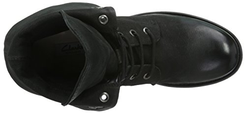 Clarks Minoa River- Stivali da Motociclista Donna Nero (Black Leather)