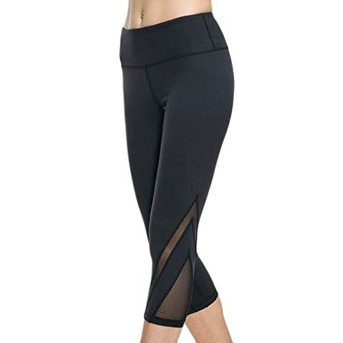 Frauen Yogahosen DOLDOA Frauen Net Garn Fitness Hip-Lifting Taille-Stretching Laufen Yoga-Hosen (S, Schwarz)