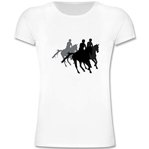Kinder Reit-bekleidung (Sport Kind - Freizeitreiten Ausreiten Reiten - 140 (9-11 Jahre) - Weiß - F131K - Mädchen Kinder T-Shirt)