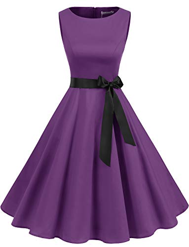 Gardenwed Damen 1950er Vintage Cocktailkleid Rockabilly Retro Schwingen Kleid Faltenrock Purple XS - Sexy Abend Party Hochzeit Damen