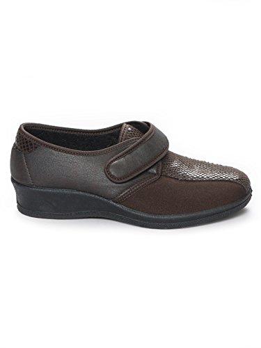 Pediconfort - Derbies extensible à scratch, spécial pieds sensibles Marron