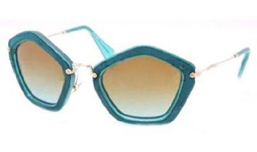 MIU MIU Geometric Sunglasses in Turquoise Chamois - MU 06OS NAO1F0 53 MU 06OS NAO1F0 53 53 Turquoise Gradient Brown