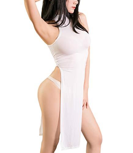 Tiefer V-ausschnitt, Neckholder Mini Kleid (Olens Damen Sexy tiefer V-Ausschnitt Neckholder rückenfrei Schlitz Mini Party Club Kleid ärmellos - weiß - Einheitsgröße)