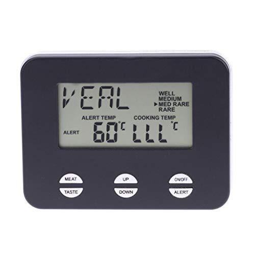 W&Z Thermometer Küche Digital Food Thermometer Instant Lesen Sie Koch-Thermometer mit Probe Timer Alarm für Fleisch Liquid, schwarz -
