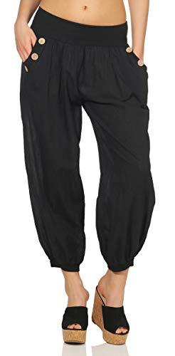 Mississhop 297 Damen leichte einfarbige Hose Sommerhose Haremshose Ballonhose Pluderhose Pumphose Aladinhose Sommer Uni Baggy Pants Schwarz
