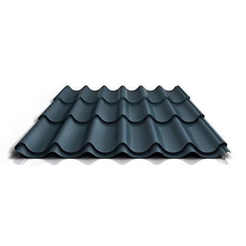 Pfannenblech | Ziegelblech | Dachziegelblech | Profil PS47/1060RT | Material Stahl | Stärke 0,50 mm | Beschichtung 35 µm | Farbe Dunkelgrau