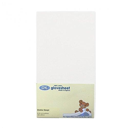 DK Glovesheets-Sábana bajera ajustable Stokke Sleepi Cuna Hoja de colchón 122x 69cm-blanco...