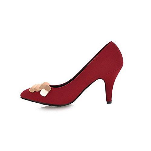 AgooLar Femme Tire Pointu à Talon Haut Suédé Couleur Unie Chaussures Légeres Rouge