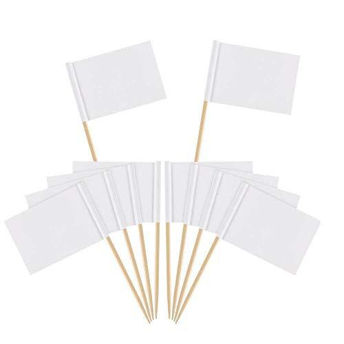 100 Stück weiße Flaggenmarker, kleine Zahnstocheretiketten für Cupcakes, Kuchen, Käse, Sandwiches, Lebensmittel 3,5 x 2,5 cm