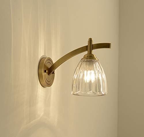 Volt-warm Weiss-cfl-lampe (FEE-ZC Bad Wandleuchte Mit Schalter, Led Wandleuchten Klar Lampenschirm Wandbeleuchtung E27 Sockel Messing Wohnzimmer Bad 110V 220V, Gold)