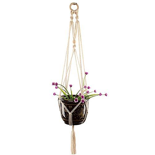 Planteur suspendu planteur, corde de coton de porte-plante de pot de fleur extérieur d'intérieur d'intérieur, supports suspendus d'usine de mur, pour le salon, décoration à la maison, long 100cm,1pcs