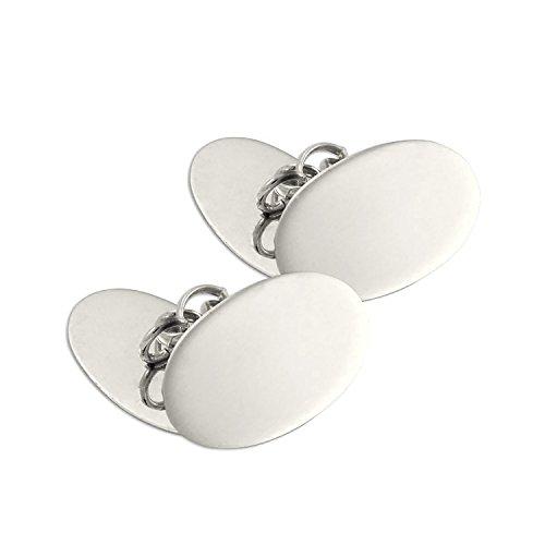 Boutons de Manchette Ovales en Or Blanc 9 Carats - A Chaînette
