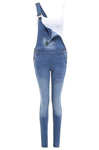 neuer Frauen Skinny Stretch Latzhose, Hellblau, Sizes 8 to 16 - Hellblau, 42