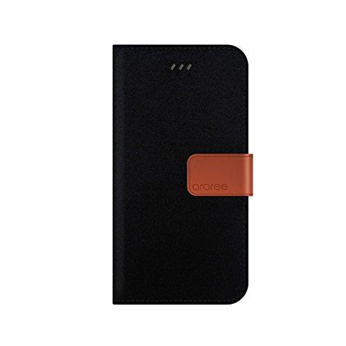 iPhone 6S Schutzhülle, araree® [Neat Diary] Premium Stoff Echtleder Wallet Case Flip Cover Mit ID Halter für Apple (2015) CASHMERE BLACK
