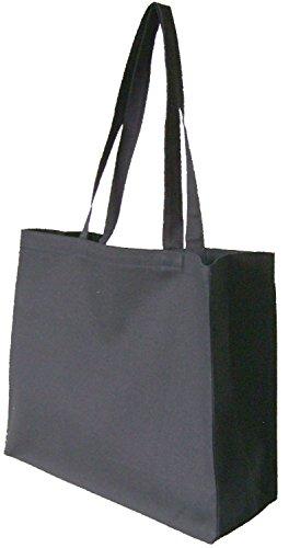 Natürliche Baumwolle/Canvas Einkaufstasche mit passende Griffe–wählen Sie Farbe und Menge schwarz (Wahl Natürlicher Baumwolle Aus)