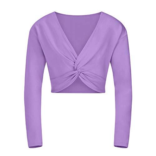 tanzmuster ® Ballettjacke Mädchen Langarm - Mia - aus sehr weichem Baumwollstoff Ballett Top zum Reinschlüpfen in Lavendel, Größe 116/122 -