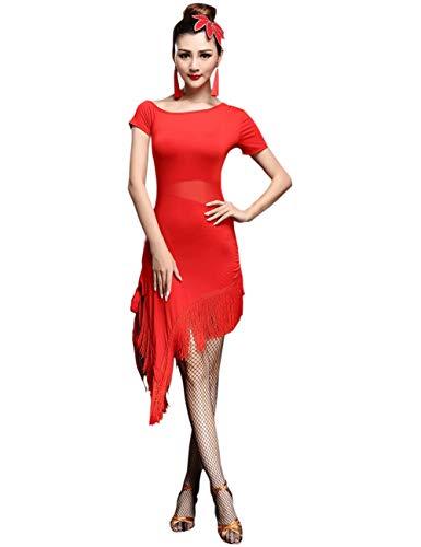 besbomig Sexy Lateinisches Tanzkleid Mit Quaste Damen Wettbewerb Dancewear - Ballroom Salsa Samba Tango Cocktail Partykleider - Sexy Tanz