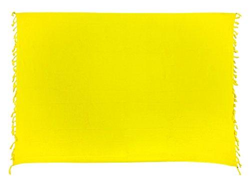 Kascha Sarong Pareo Wickelrock Strandtuch Tuch Wickeltuch Handtuch - Blickdicht - ca. 170cm x 110cm - Gelb Einfarbig Handgefertigt inkl. Kokos Schnalle in Fischform (Kokos-schnalle)